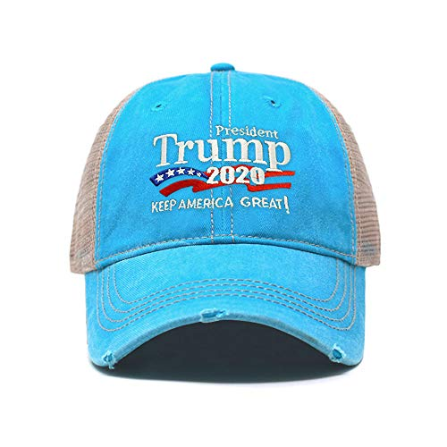 ChoKoLids Trump 2020 Keep America Great Campaign Embroidered USA Hat | Baseball Bucket Trucker Cap (Distressed Trucker TC102 Aqua)