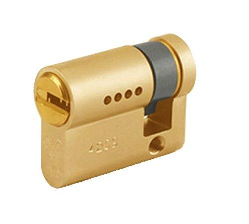 Mul-T-Lock GAON / 7X7 Cilindro de Seguridad Perfil Europeo Medio, Leva 15, 5 Llaves y Tarjeta de Identificación, Latón, 47,5mm 37,5x10