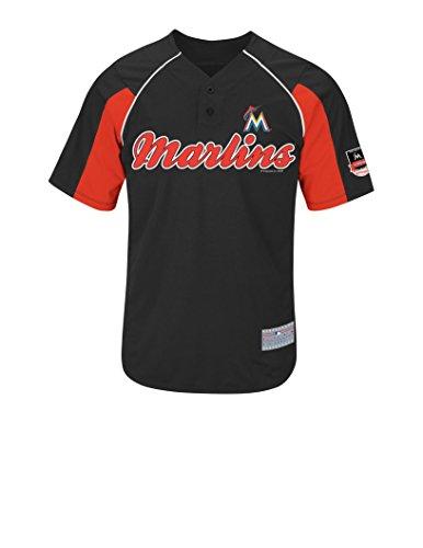 MLB Miami Marlins Men's Fernandez 16 Jersey, Black/Fire Red/White, XX-Large