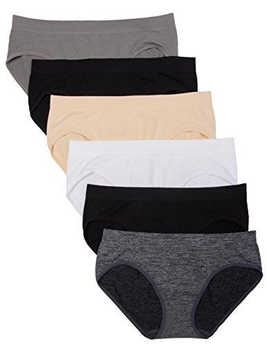 Kalon 6 Pack Women's Hipster Brief Nylon Spandex Underwear (Medium, Basics) ()