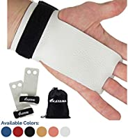 KAYANA 2 Hole Leather Gymnastics Hand Grips - Palm Protection and Wrist Support for Cross Training, Kettlebell
