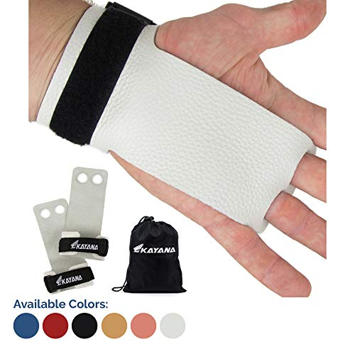 KAYANA 2 Hole Leather Gymnastics Hand Grips - Palm Protection and Wrist Support for Cross Training, Kettlebells, Pull ups, Weightlifting, Chin ups, Workout, Exercise (Youth White, Small)