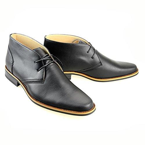 O-NINE Mens Lace-up Derby Shoes Casual Shoes Flat Round Toe Opb016-2 Black MaHji