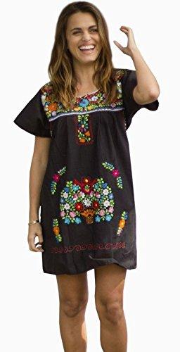 Liliana Cruz Embroidered Mexican Peasant Mini Dress (Black size Small)