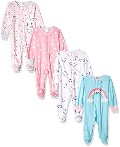GERBER Baby Girls' 4-Pack Sleep N' Play, Cloudy, 0-3 Months