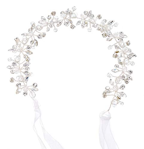 Shinny Crystal Bridal Wedding Head Piece Bride Headwear Pearl Headbands Crowns Hair Ribbon Flower Party Head Jewelry Accessories,0542