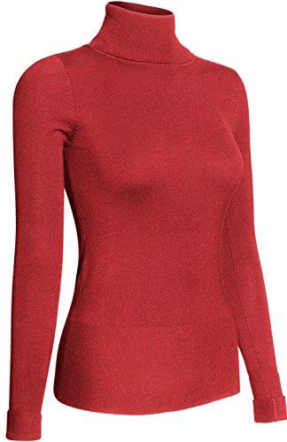 BodiLove Women's Long Sleeve Fitted Turtleneck Sweater Orange S
