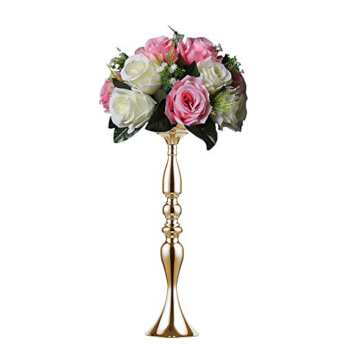 Sizes Height Metal Candle Holder Candle Stand Wedding Centerpiece Event Road Lead Flower Rack (50 cm, Gold) (Gold Candlestick)