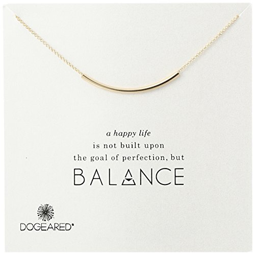 Dogeared Balance Tube Bar Gold Plated Silver Necklace, 18