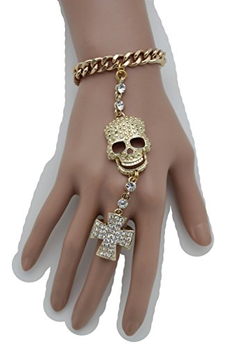Pigsy Fancy Dress Costume (TFJ Women Gold Metal Hand Chain Wrist Bracelet Skeleton Skull Slave Ring Cross Halloween)