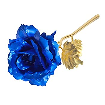 Beautiful Rose Flower Blue Colored Gold Foil Lasts Forever Blue with Gift Box & Bag Romantic Anniversary Valentine's Day Birthday Mother's Day Gift gcr3A
