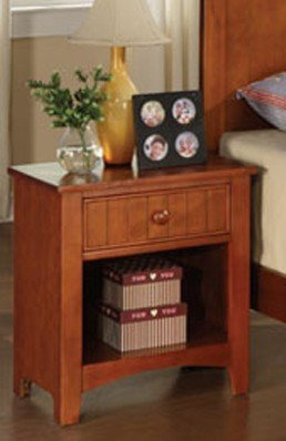 Nightstand with Open Shelf in Brown Finish (Nightstand Brown Finish)