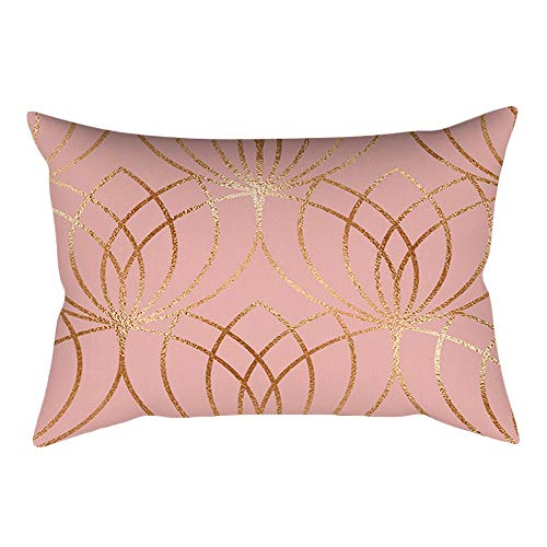 Wffo Rose Gold Pink Cushion Cover, Square Pillowcase Home Decoration(30cm 50cm) (H)