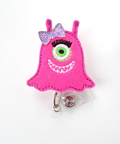 Mia the Monster - Retractable ID Badge Reel - Name Badge Holder - Nursing Badge - Nurse Badge Holder - Nursing Badge Clip - Teacher Badge]()
