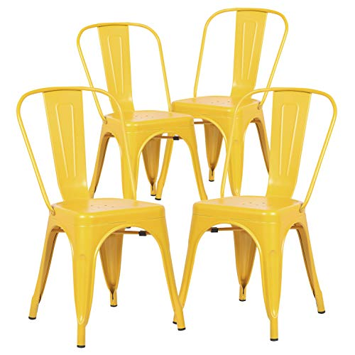 Poly and Bark Trattoria Kitchen and Dining Metal Side Chair in Yellow (Set of 4) (Chairs Yellow Porch)