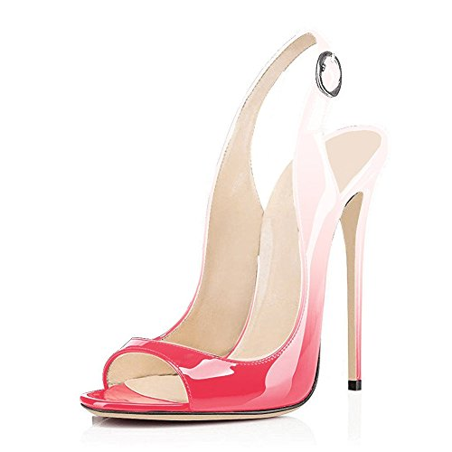Party Slingbacks Stiletto Open Pink Heels Pumps Strap Gradient Wedding for UMEXI Toe Women Shoes Ankle High Ev0Uaq