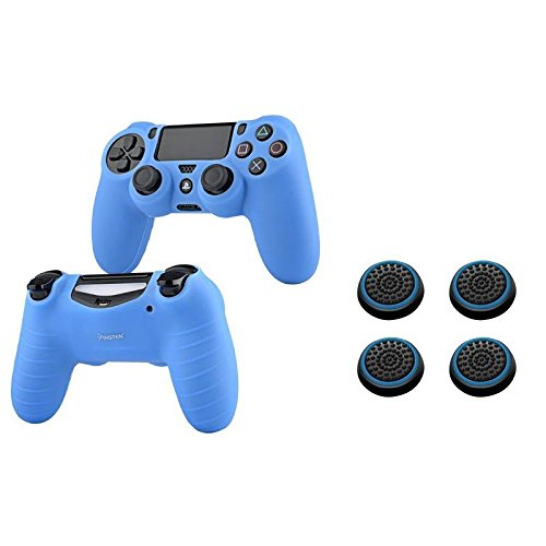 Insten [2 Pair / 4 Pcs] Silicone Analog Thumb Grip Stick Cover (Black/Blue) + PS4 Controller Silicone Skin Case Compatible With Sony PlayStation 4 (Blue) (Blue Xbox Controller Stick Covers compare prices)
