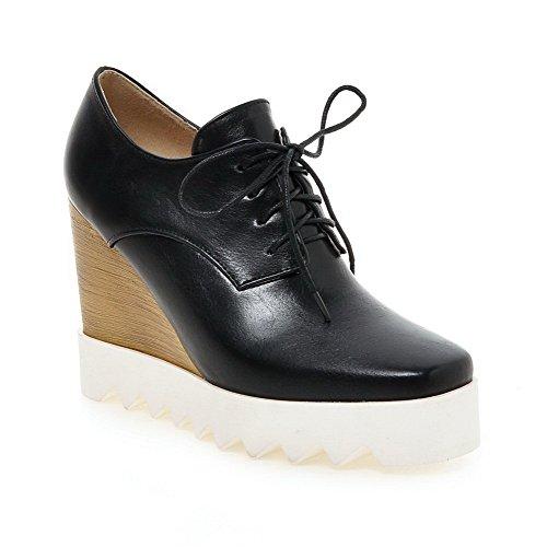Amoonyfashion Femmes Pu Talons Carrés Carré Fermé Orteil Solide Lacets Pompes-chaussures Noir