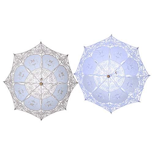 Toyvian Lace Umbrella Ruffle Parasol Handmade Cotton Craft for Bridal Bridesmaid Wedding Party Decoration Photography Prop 30cm 2pcs (White, ()