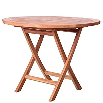 Générique Table de Jardin Ronde Pliante en Teck 100cm KENITA - L 100 ...