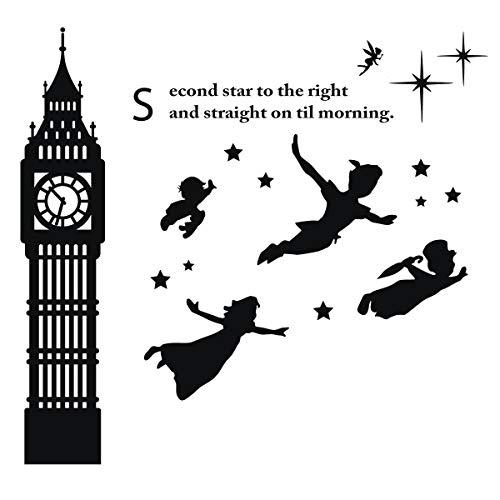 Peter Pan, Wendy, John, Michael and Tinker Bell Scene - Disney Vinyl Sticker Silhouette for Kids Playroom, Bedroom Or Nursery