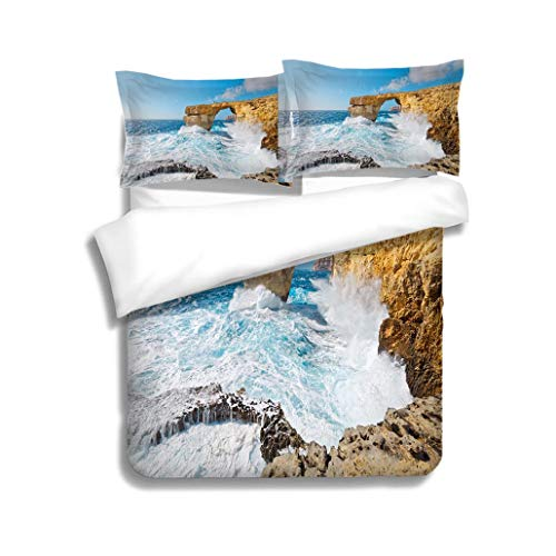 (MTSJTliangwan Duvet Cover Set Storm The Azure Window in Gozo Malta 3 Piece Bedding Set with Pillow Shams, Queen/Full, Dark Orange White Teal Coral)