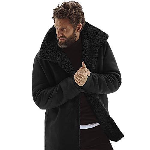Dacawin Men Winter Mid-Length Woolen Jacket Thickened Warm Windbreaker Fur Collar Coat (Black, M)