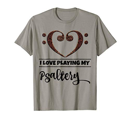 Double Bass Clef Heart I Love Playing My Psaltery Music Lover T-Shirt