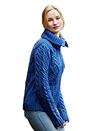 100% Irish Merino Wool Ladies Zip Aran Sweater with Pockets by West End Knitwear