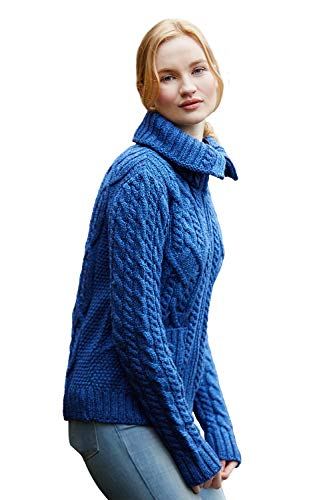 Irish Merino Wool Double Collar Zipper with Patch Pockets, Marl Blue,Medium