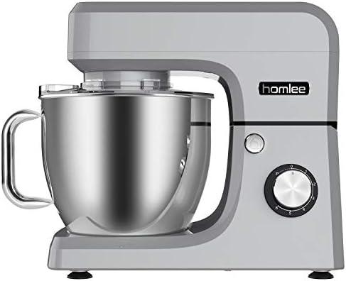 Homlee 1800W Batidora Amasadora, Alto Voltaje Profesional Amasadora de pan Automática Multifuncional, Robot de Cocina Multifuncional,6.5 litros, 6 velocidades Plata: Amazon.es: Hogar