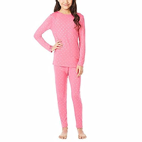 32 Degrees Weatherproof Big Girl's Base Layer Thermal Set, S, Pink Foil Star