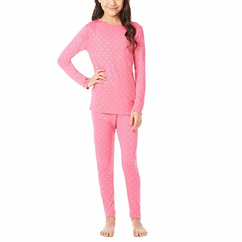 32 Degrees Weatherproof Big Girl's Base Layer Thermal Shirt Long Underwear Set, Pink Foil Star, X-Large