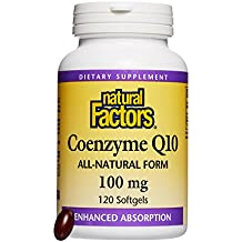 Natural Factors - Coenzyme Q10 100mg, Antioxidant Support with Enhanced Absorption, 120 Soft Gels