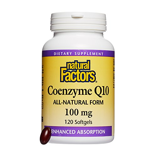 - Natural Factors, Coenzyme Q10 100 mg, Antioxidant Support for Healthy Cellular Energy and Heart Function, 120 softgels (120 servings)