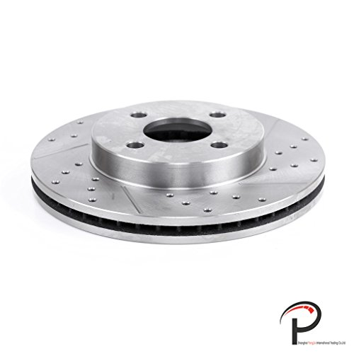 VIOJI New 1pc Front Left Drilled Slotted Vented Brake Rotor Disc 4 Lugs Fit Chevy 2005-2010 Cobalt & Saturn 2003-2007 Ion 1/2/3 & Pontiac 2007-2015 w/Rear Drum Brakes