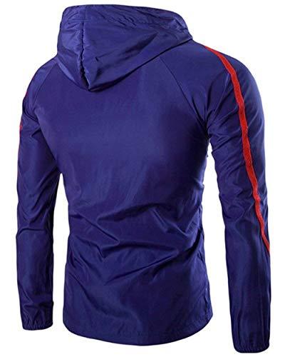 Tasche Anti Giacca Fashion Manica Cerniera Cappuccio uv Saphir Comode Capispalla Hx Laterali Protezione A Taglie Con Blau Solare Abiti Uomo Lunga Da Vento w7nqd5