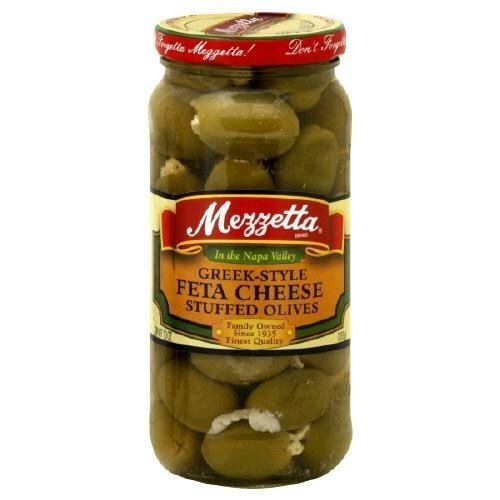 Mezzetta Greek-Style Feta Cheese Stuffed Olives 9.5 Oz (Pack of 3) (Style Feta)
