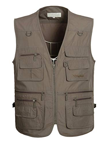 PASOK Men's Work Fishing Vests Lightweight Safari Travel Hunting Waistcoat with Multi-Pockets Color 3 2XL