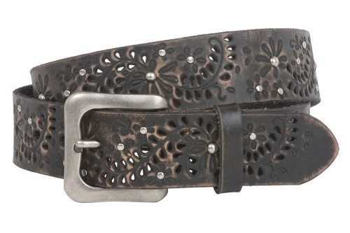 Snap On Vintage Cowhide Leather Foral Rivet Perforated Casual Belt Size: 38 Color: Black