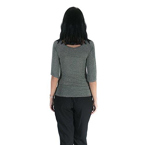Republica1946 Camisa de mujer en tejido lurex con cuello barco, 3/4 mangas, ajuste delgado. RPDIMC07 Verde