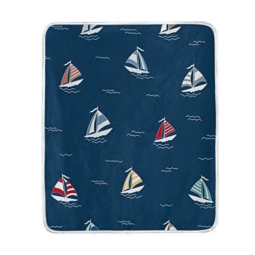 Sailboat Dark Blue Soft Warm Throw Blankets Lightweight