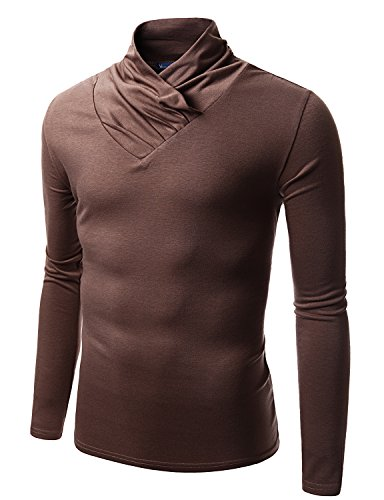 Doublju Mens Turtle Neck with Shirring Detail BROWN (US-S)