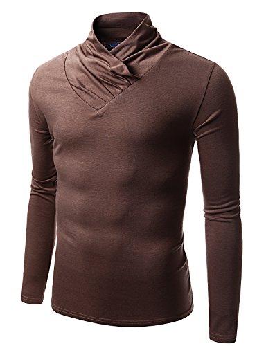 Doublju Mens Turtle Neck with Shirring Detail BROWN (US-M) (Ringspun Sleeve Long Turtleneck)