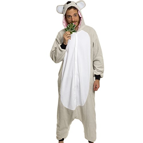 Silver Lilly Adult Pajamas - Plush One Piece Cosplay Koala Animal Costume (XL) - Boxer 4 Piece Costume