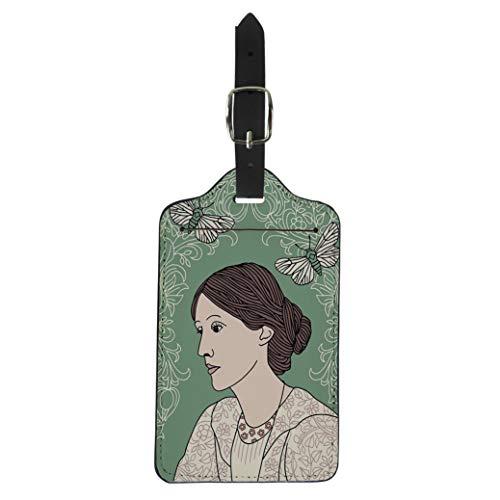 Pinbeam Luggage Tag Portrait of Virginia Woolf Green Butterfly Moths Suitcase Baggage Label (Best Virginia Woolf Novel)