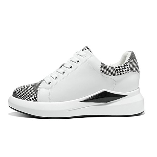 Outdoor JRenok Sport Basket Sneakers Lacet Mode Chaussure Style Treillis de 40 Blanc de Casuel Multisport Compensé 35 Femme Cuir zqwrWABz