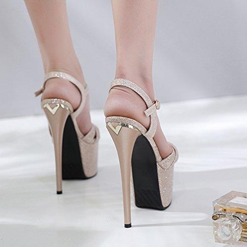 Elegante Heels Gold Sandali Tacco Pole Sexy Di Sexy GZSL Donna Piattaforma High 8038 Testa Alto KJJDE Super A3 Dance Impermeabile Squisita Pesce 4FqZZw1O