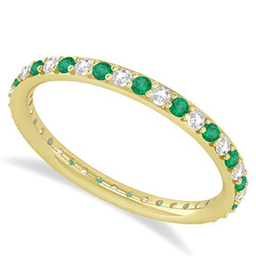 0.57 Ct Round Cut Real Diamond & Simulated Gemstone 14K Yellow Gold Full Eternity Wedding Band Ring (emerald & diamond) (Band Stone Cut Emerald Diamond)