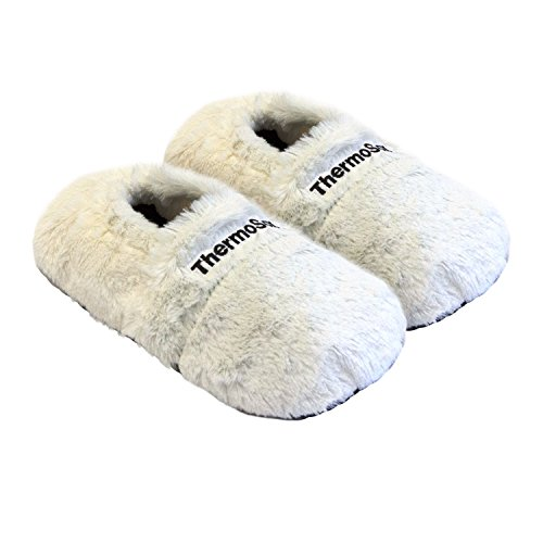 Thermo Sox aufheizbare Hausschuhe Für Mikrowelle und Ofen - Mikrowellenhausschuhe Wärmepantoffeln Wärmehausschuhe Wärmeschuhe Fußwärmer Supersoft, Größe:Gr.L 41-45, Farbe:Creme